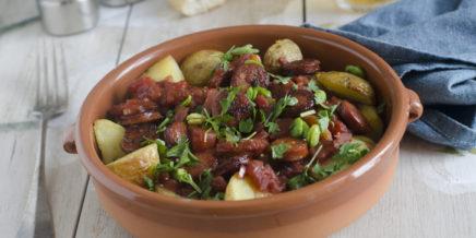 sausage, beans and potatoes