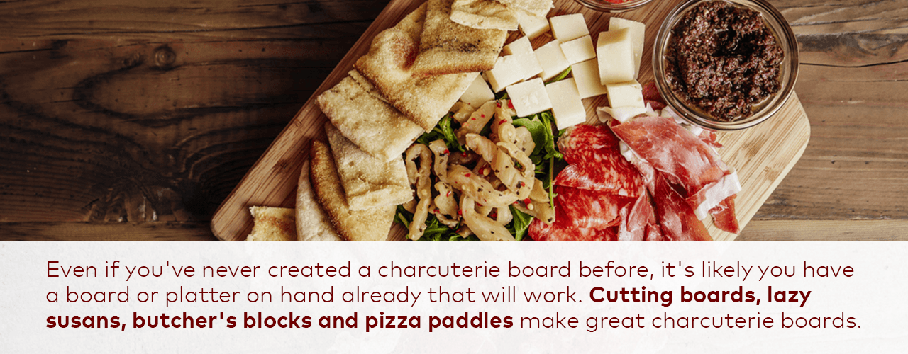 Charcuterie board with bread